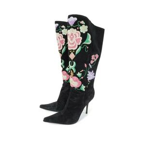 Casadei Floral Embroidered Suede Leather Boots